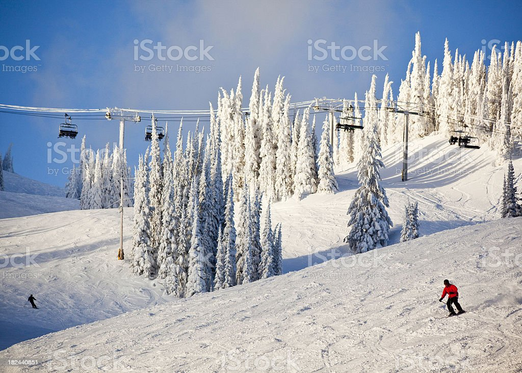 Skiing at Sunset royalty-free stock photo
