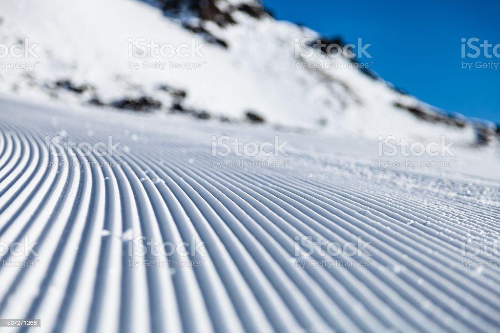 Skiing background from a low angled view stock photo