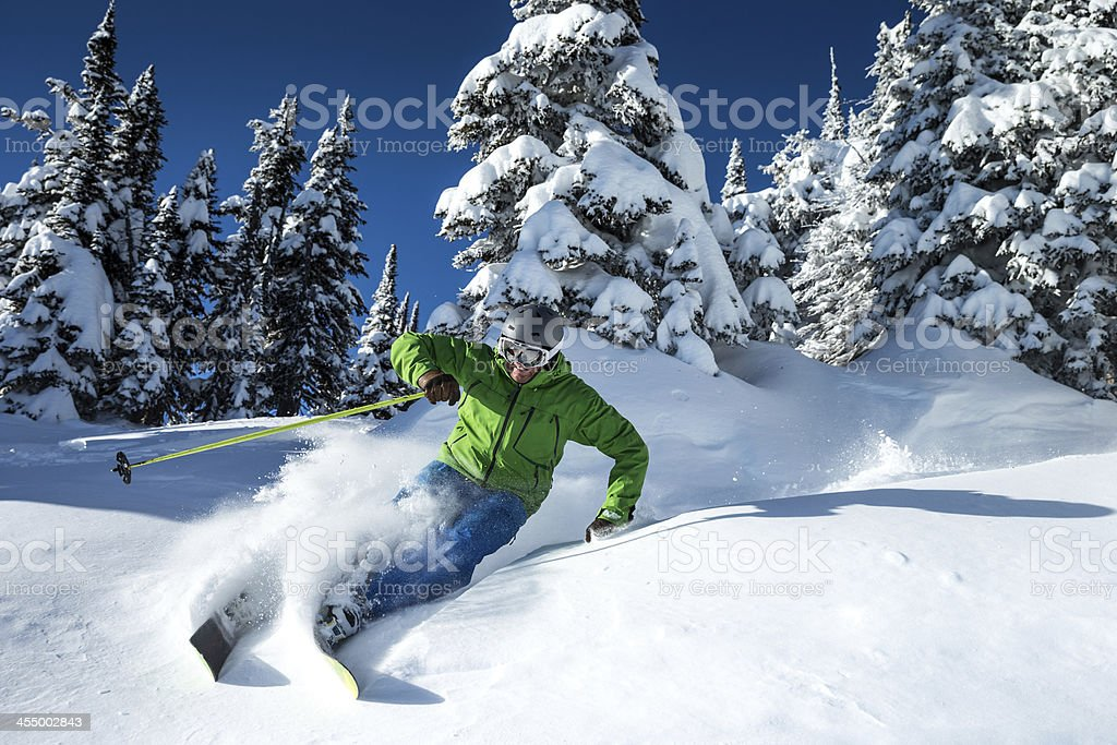 skiing blue sky stock photo