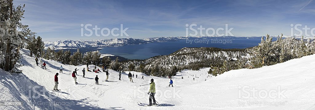Skiing by the Lake stock photo