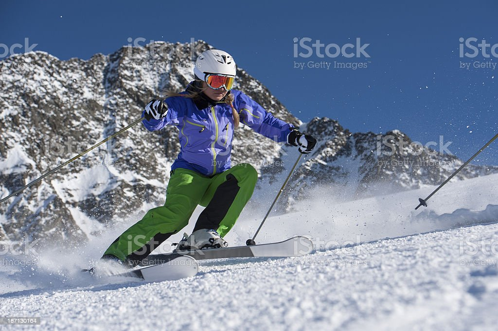 skiing - carving on highest level stock photo