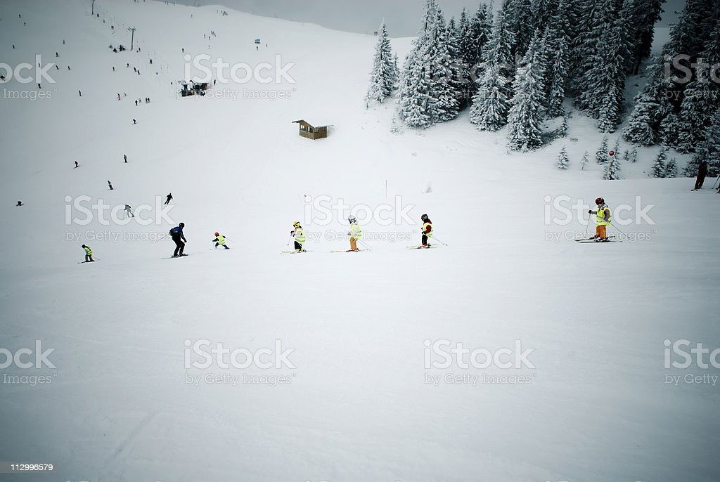 Skiing Class royalty-free stock photo