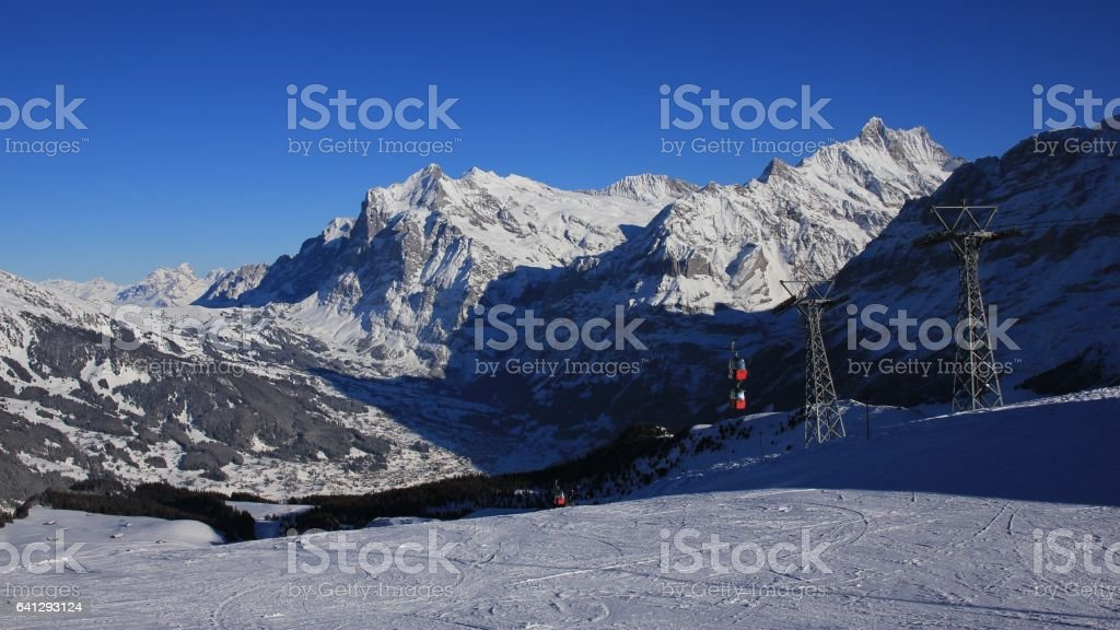 Skiing day in Grindelwald stock photo