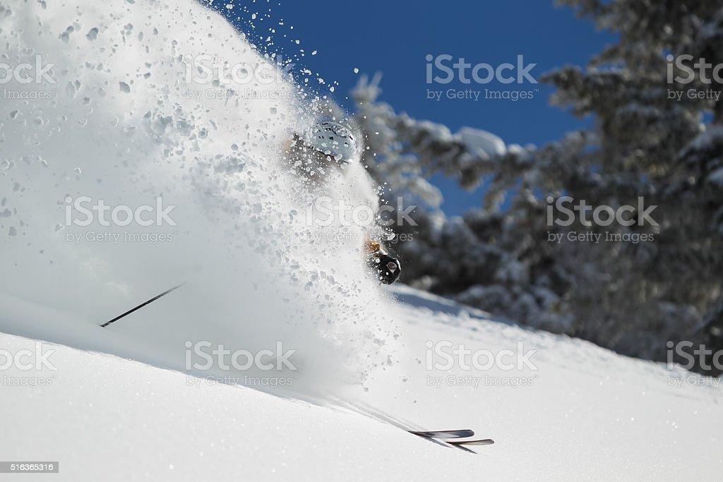 Skiing Deep Powder stock photo