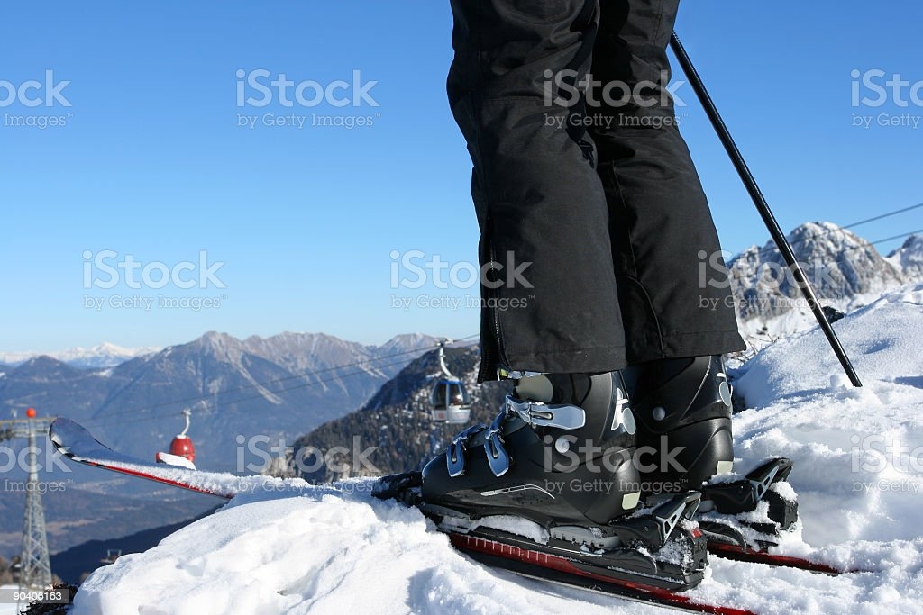 Skiing details stock photo