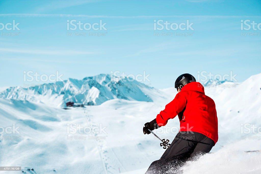 Skiing downhill panorama stock photo