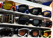 Skiing eyewear in shop