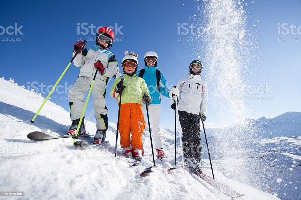 skiing family royalty-free stock photo
