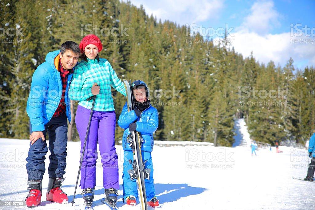 Skiing family stock photo