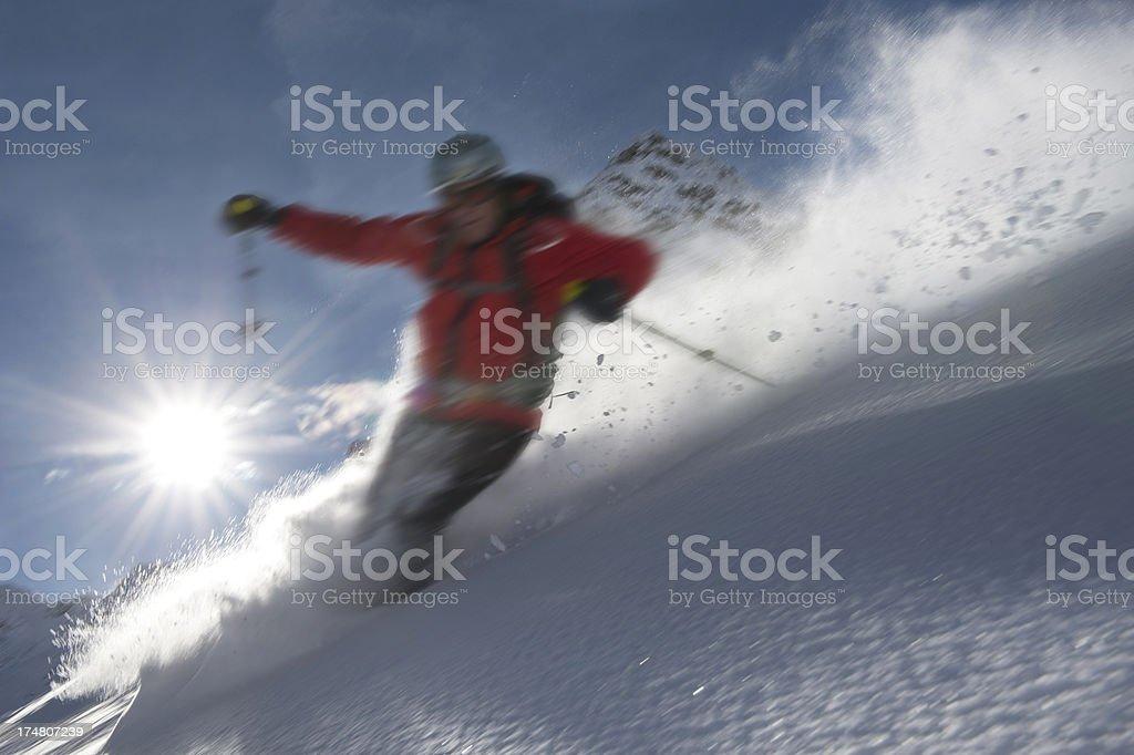 skiing freerider stock photo