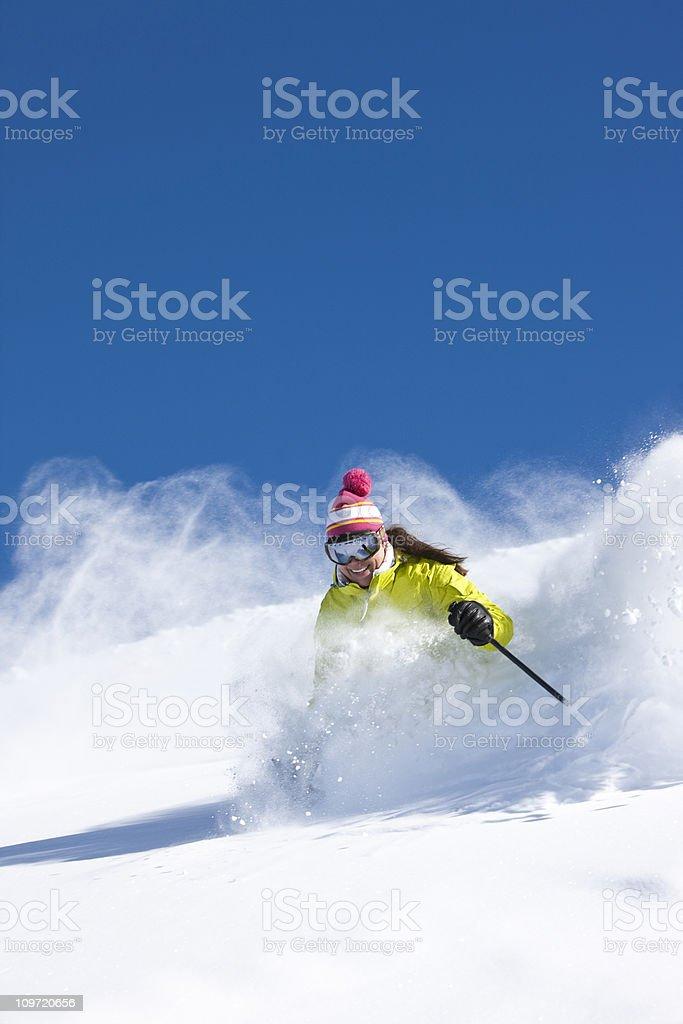 Skiing fresh powder royalty-free stock photo