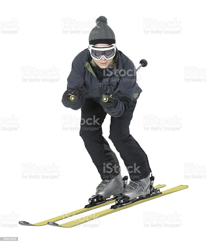 skiing girl in white back stock photo
