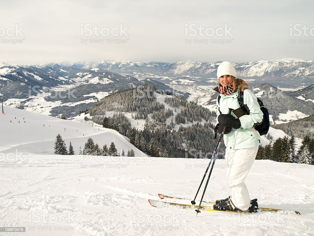 skiing girl, with a great view.