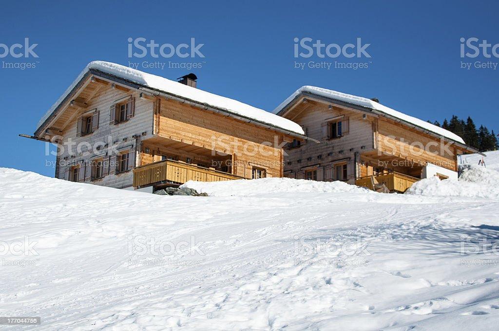 Skiing huts in Montafon royalty-free stock photo