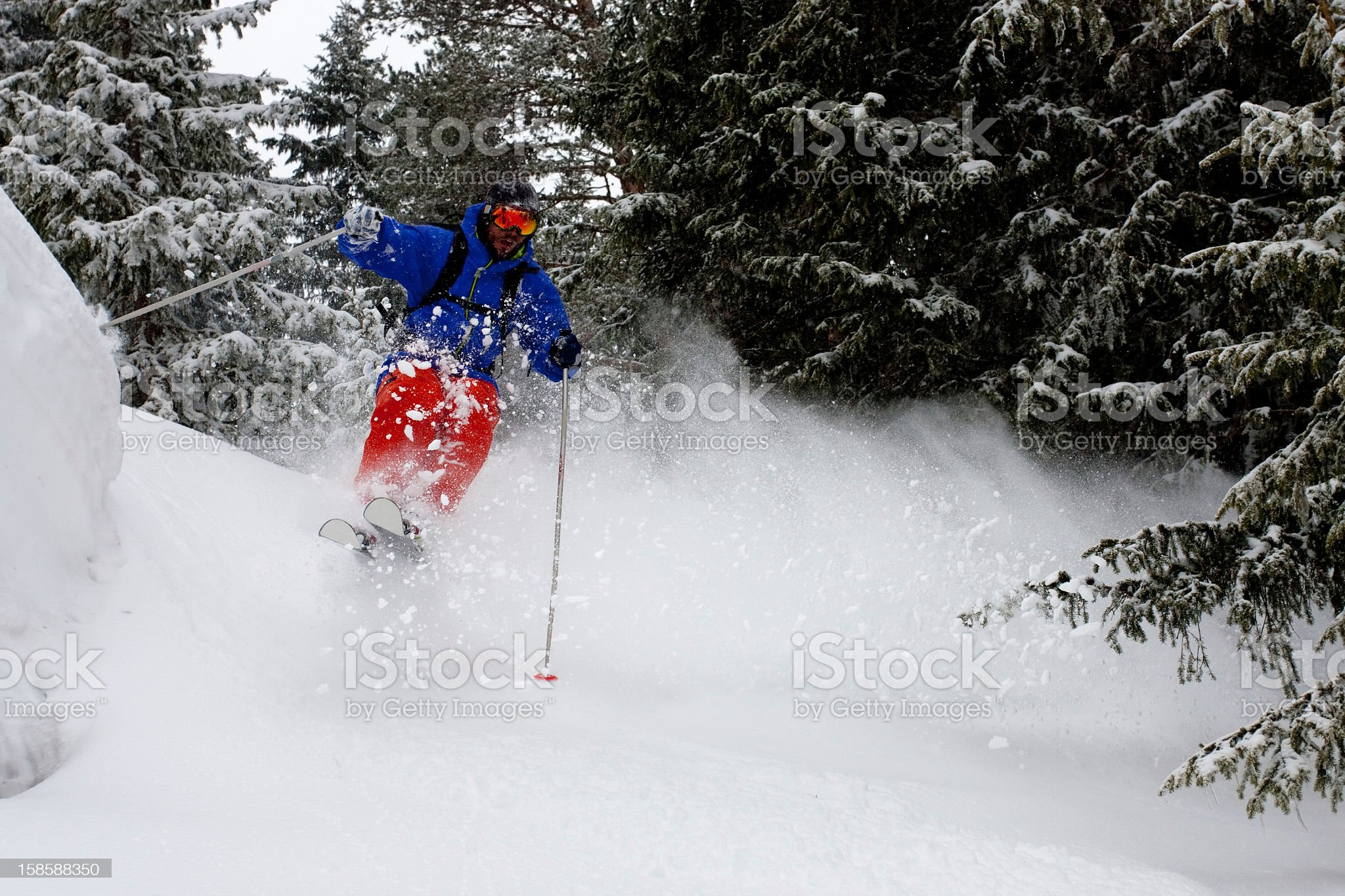 Skiing in a powder day royalty-free stock photo