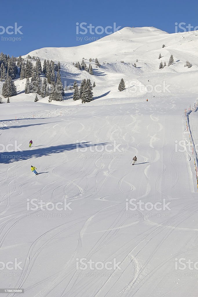 Skiing in alps royalty-free stock photo