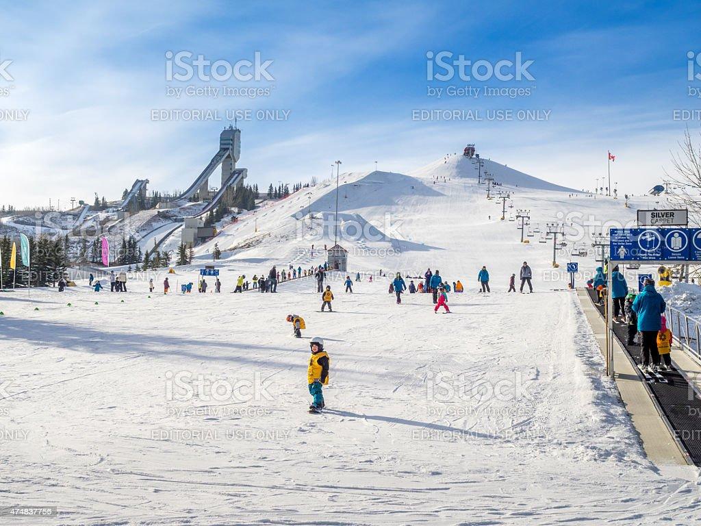 Skiing in Calgary, ALberta stock photo