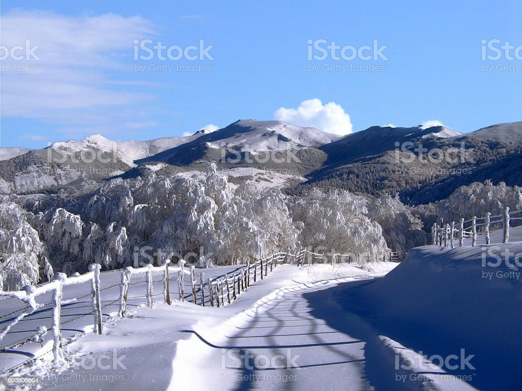 Skiing in Cantal stock photo