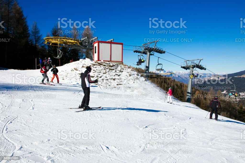Skiing in Folgaria stock photo