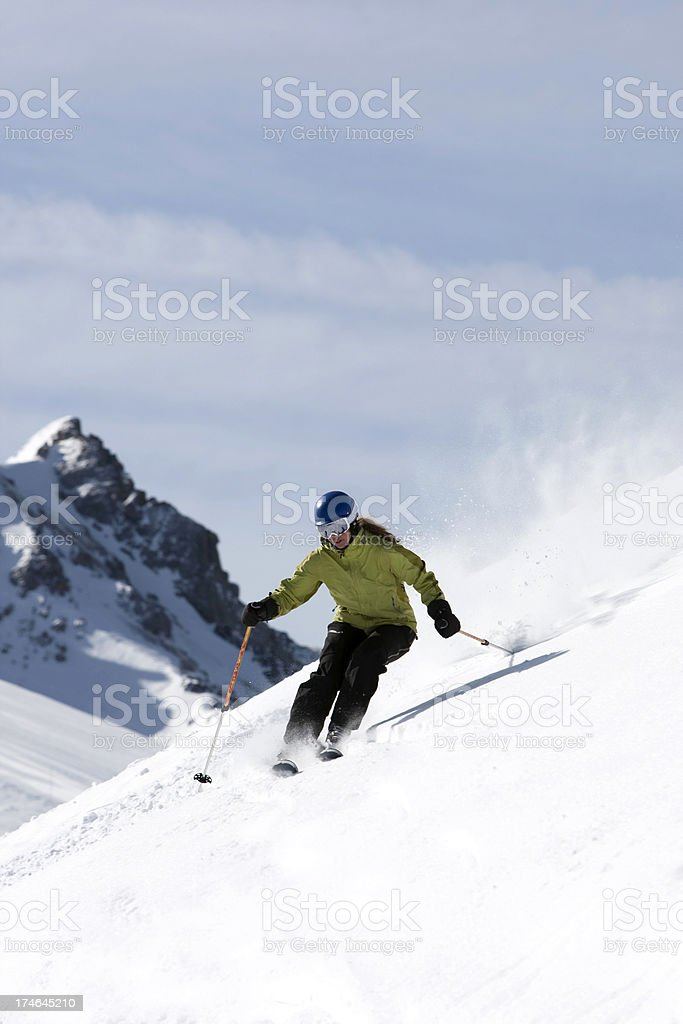 Skiing in Fresh snow royalty-free stock photo