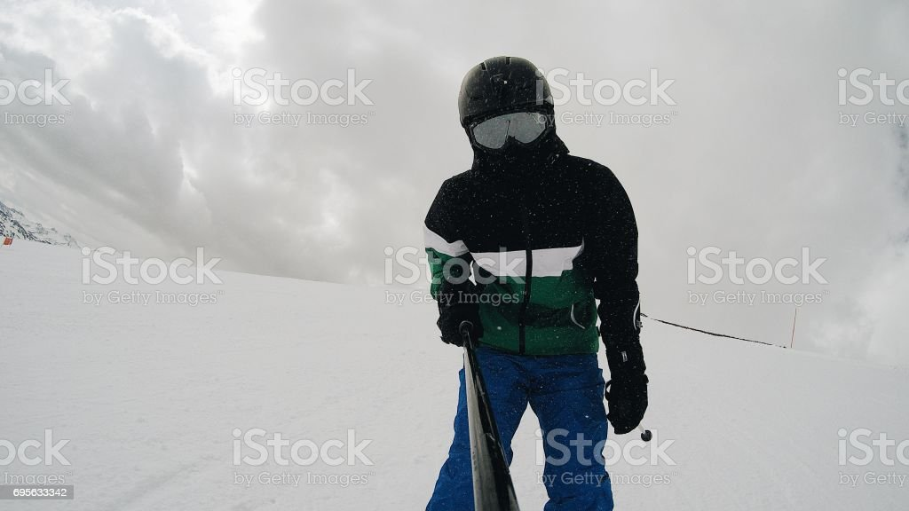 Skiing in an area full of snow.