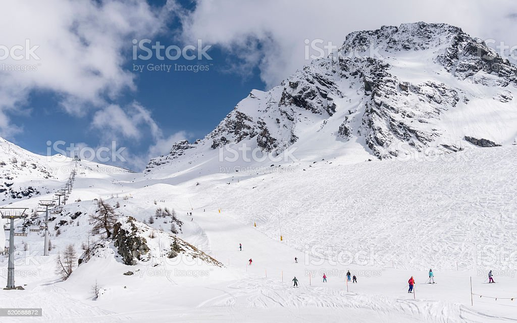 Skiing in Monterosa ski stock photo