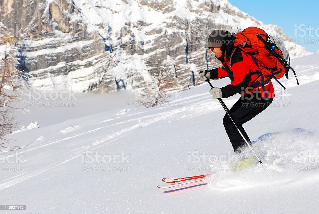 Skiing in mountains royalty-free stock photo