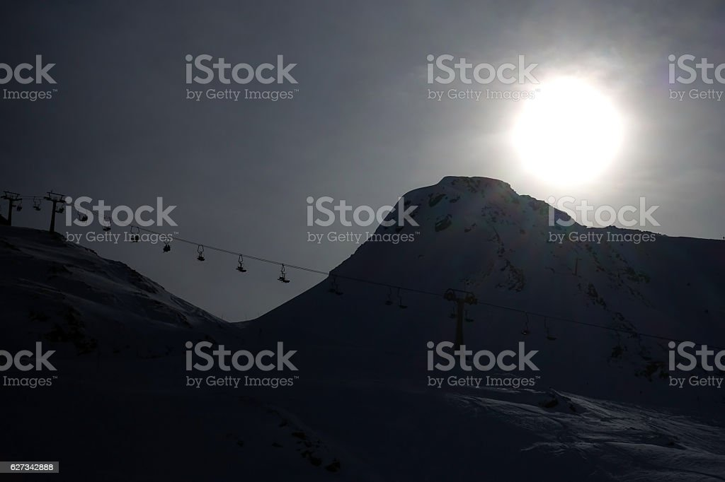 Skiing in St Anton, Austria stock photo