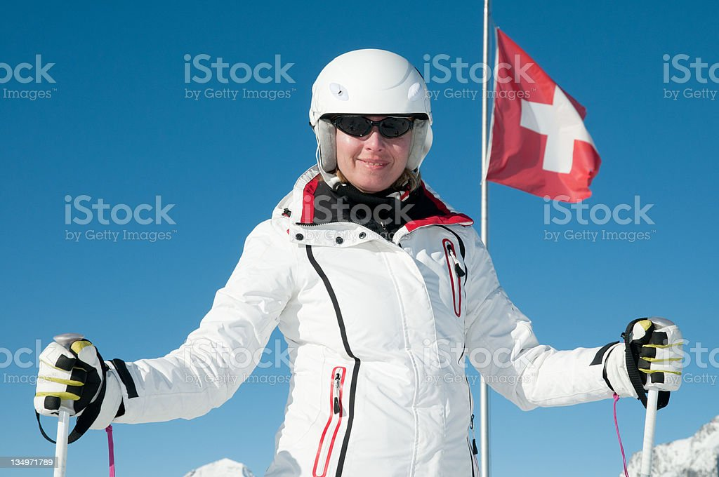 Skiing in Swiss Alps royalty-free stock photo