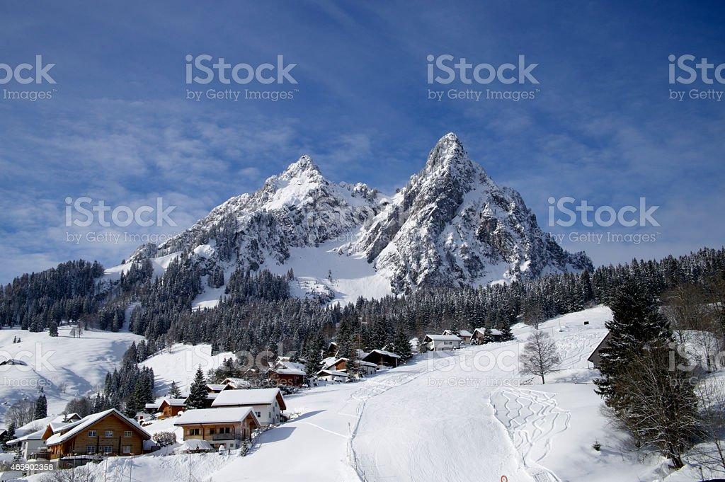 Skiing in Switerland. stock photo