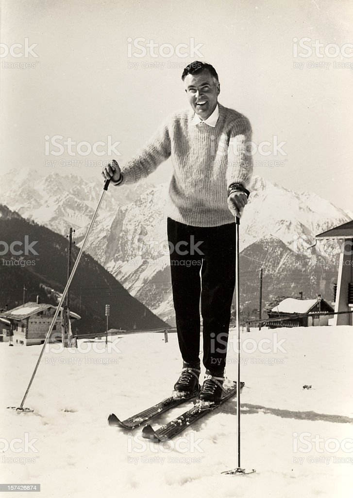 Skiing in the 1950's stock photo