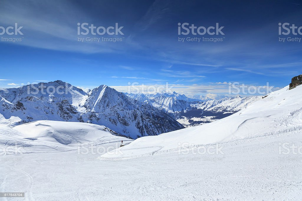 Skiing in the Alps stock photo
