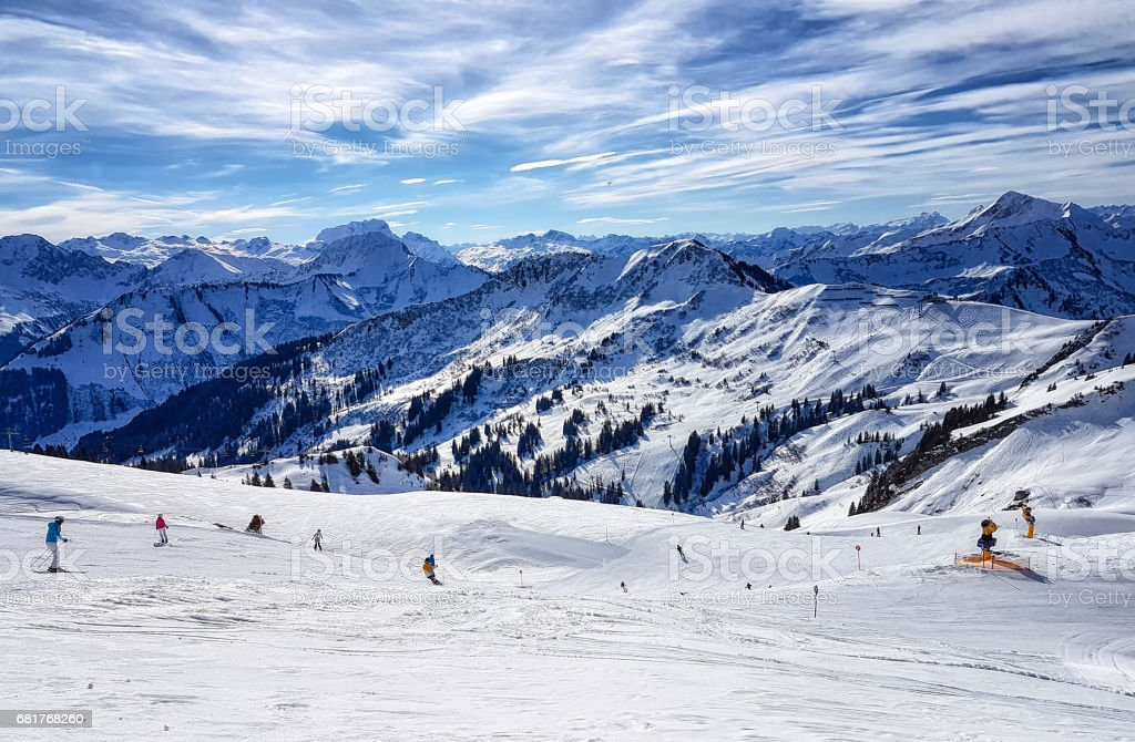 Skiing in the austrian alps stock photo