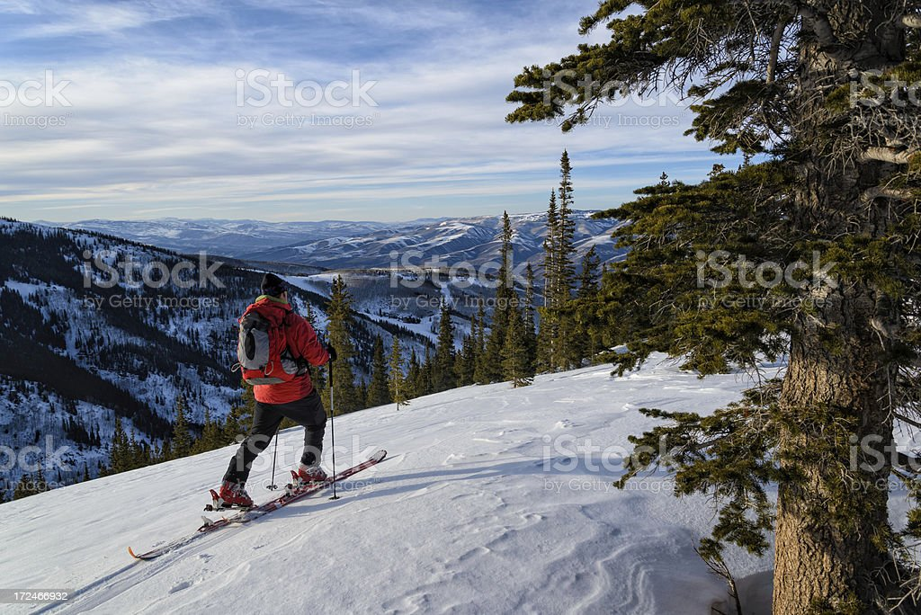 Skiing in the Backcountry royalty-free stock photo