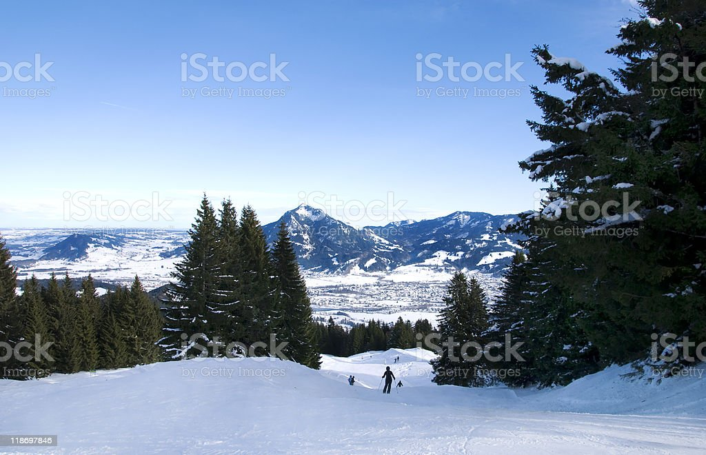 skiing in the bavarian alps royalty-free stock photo
