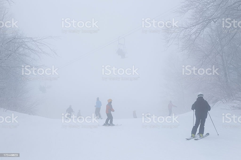 Skiing in the clouds royalty-free stock photo