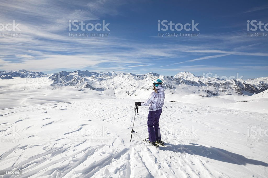 Skiing in the high European Alps stock photo