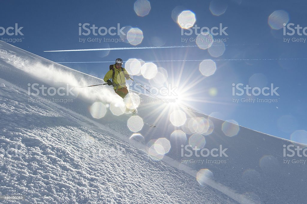 Skiing in the sun paradise South Tyrol stock photo