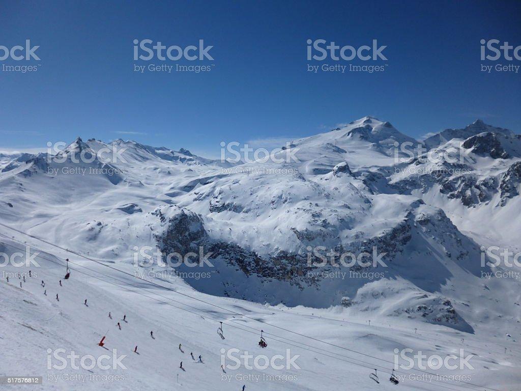 Skiing in the Sun stock photo