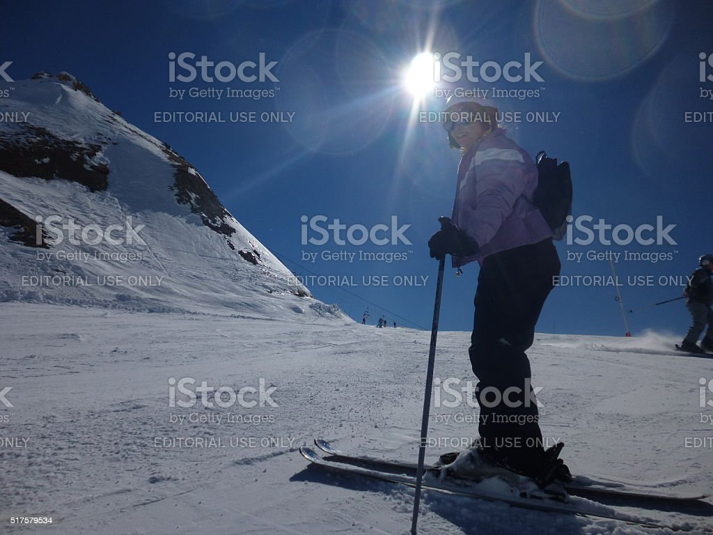 Skiing in the Sunshine stock photo