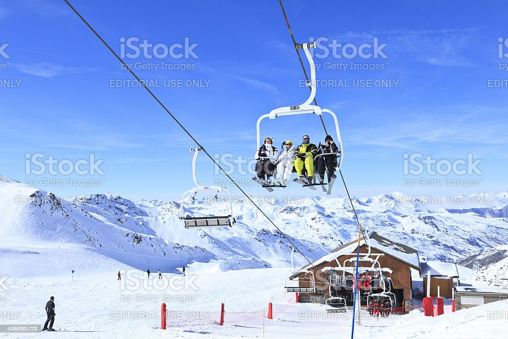 Skiing in Val Thorens stock photo