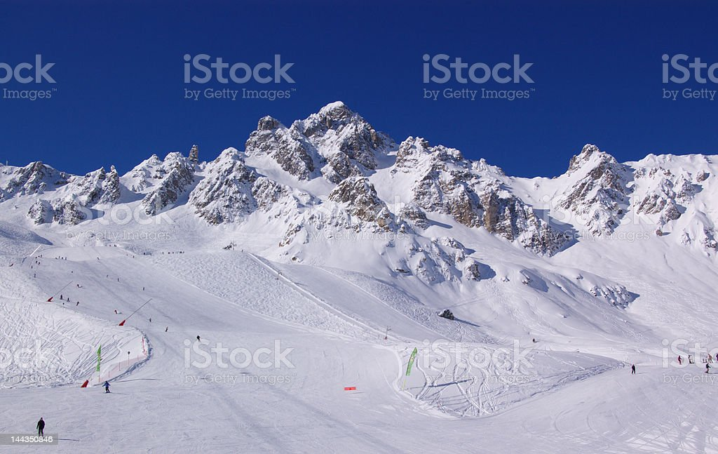 skiing in winter mountains royalty-free stock photo