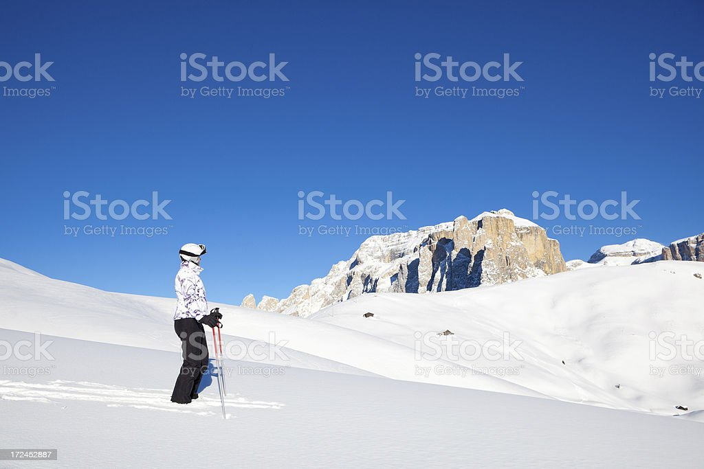 Skiing in wonderful winter landscape royalty-free stock photo