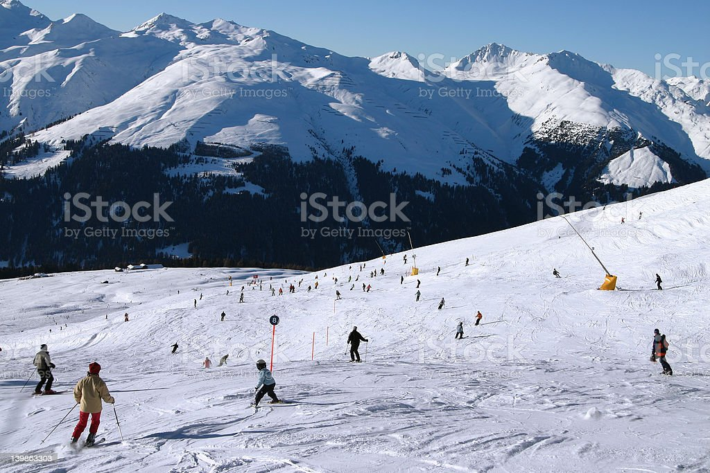 Skiing into the valley 2 royalty-free stock photo