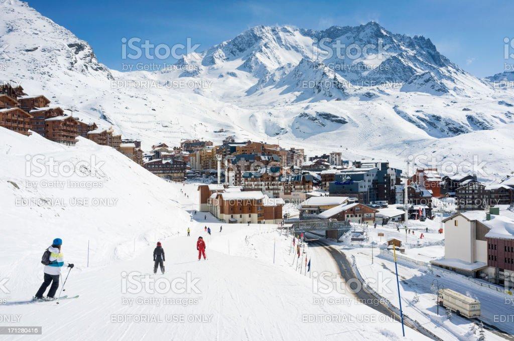 Skiing Into Val Thorens stock photo