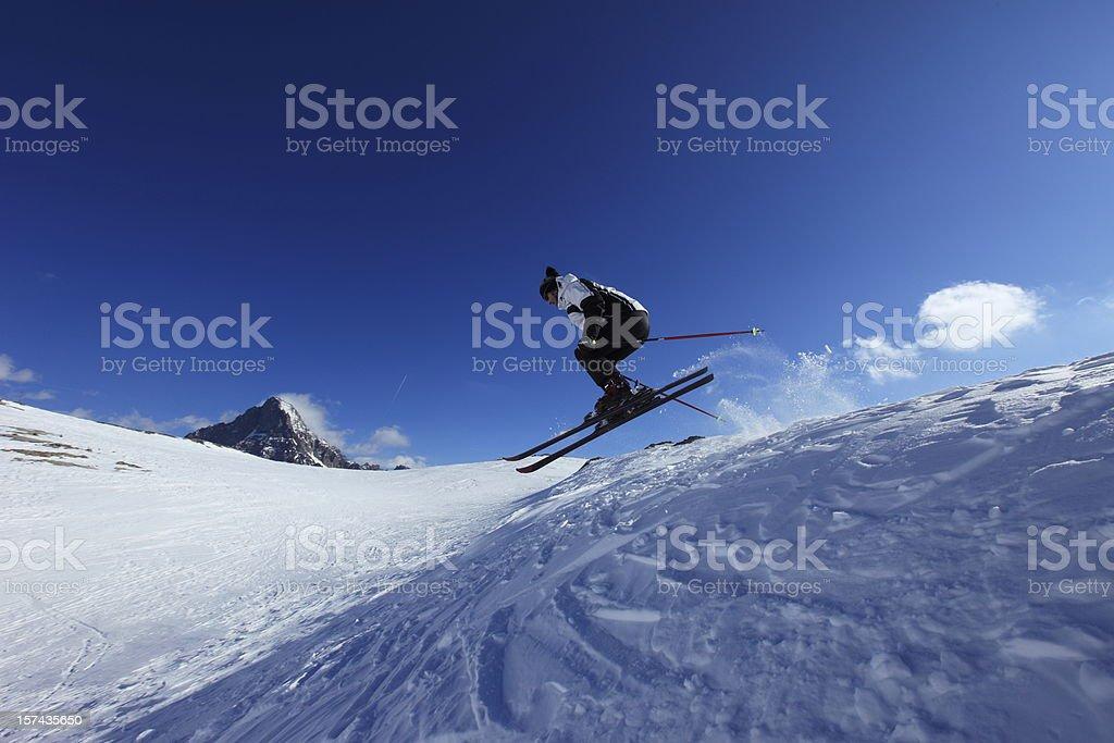 Skiing  Jump stock photo