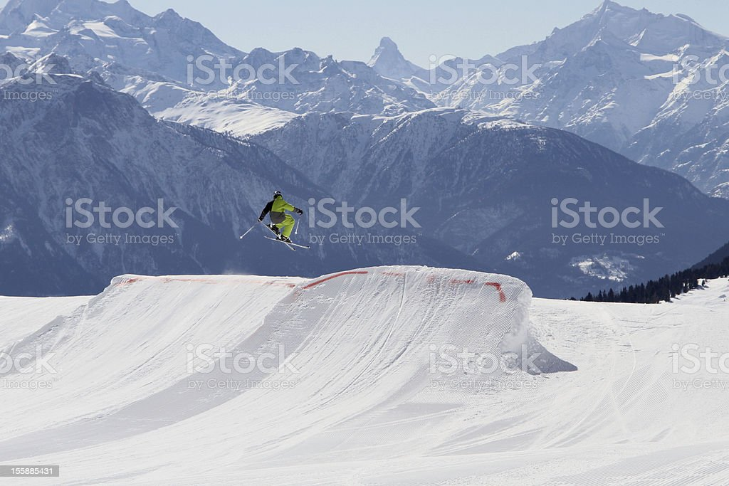 skiing kid in the alps stock photo