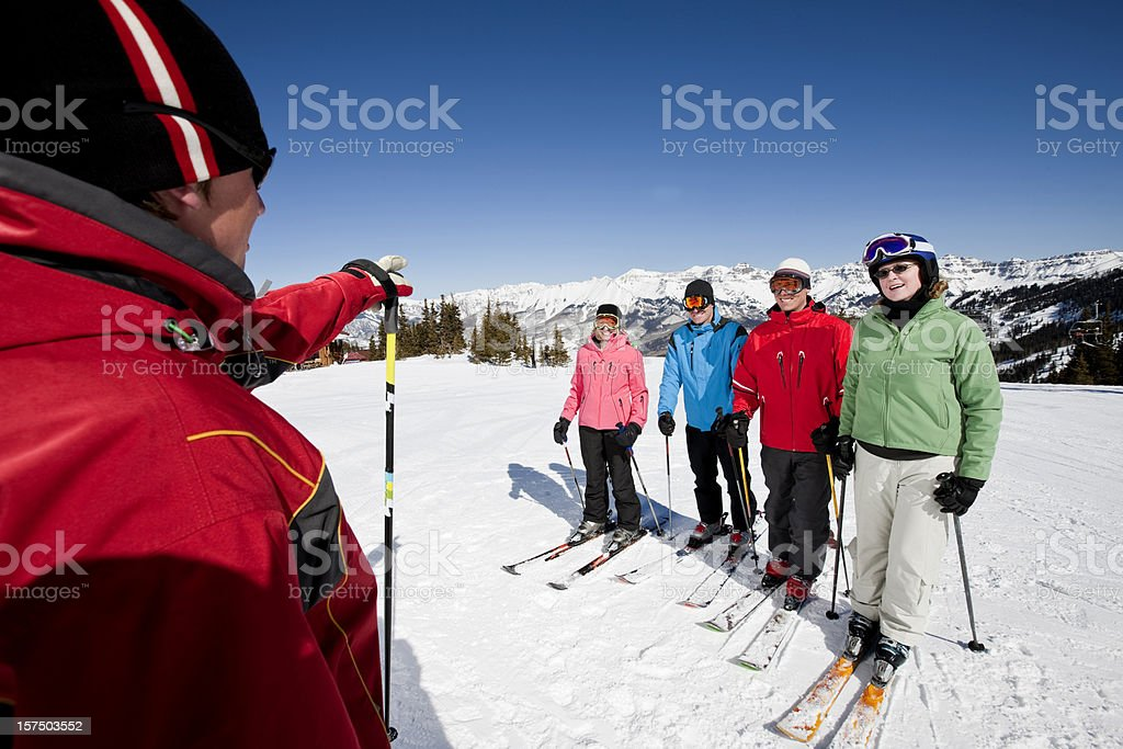 Skiing lessons stock photo