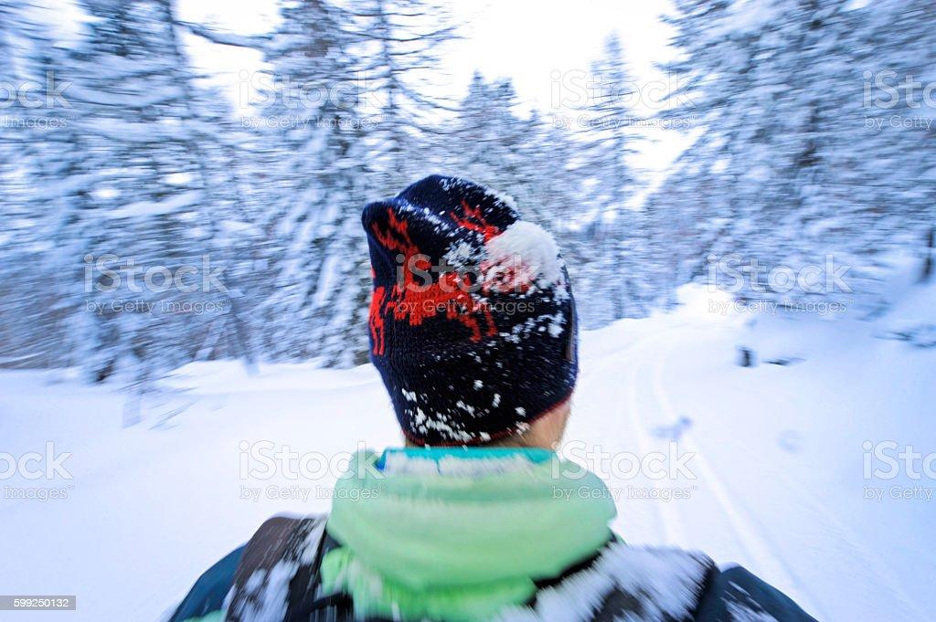 Skiing motion blur stock photo