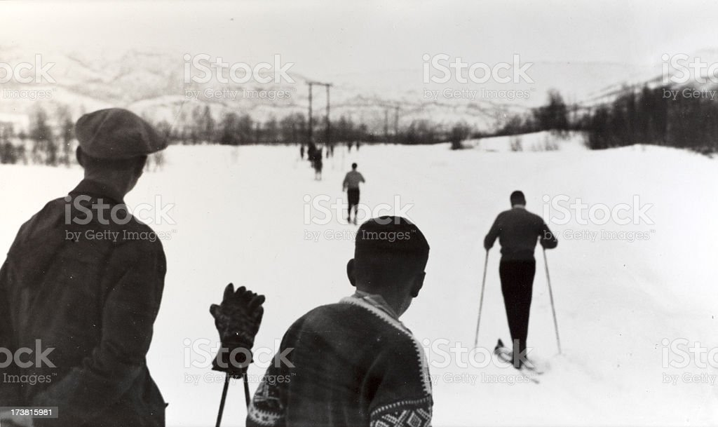 Skiing Norway 1950's royalty-free stock photo